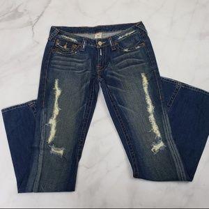 True Religion Flap Distressed Flare Joey Jeans